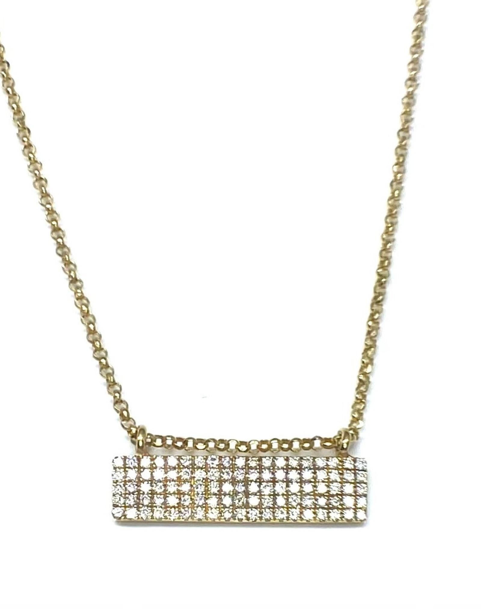Nobles Metales Yellow Gold Diamond  Pavé Rectangle Bar Necklace