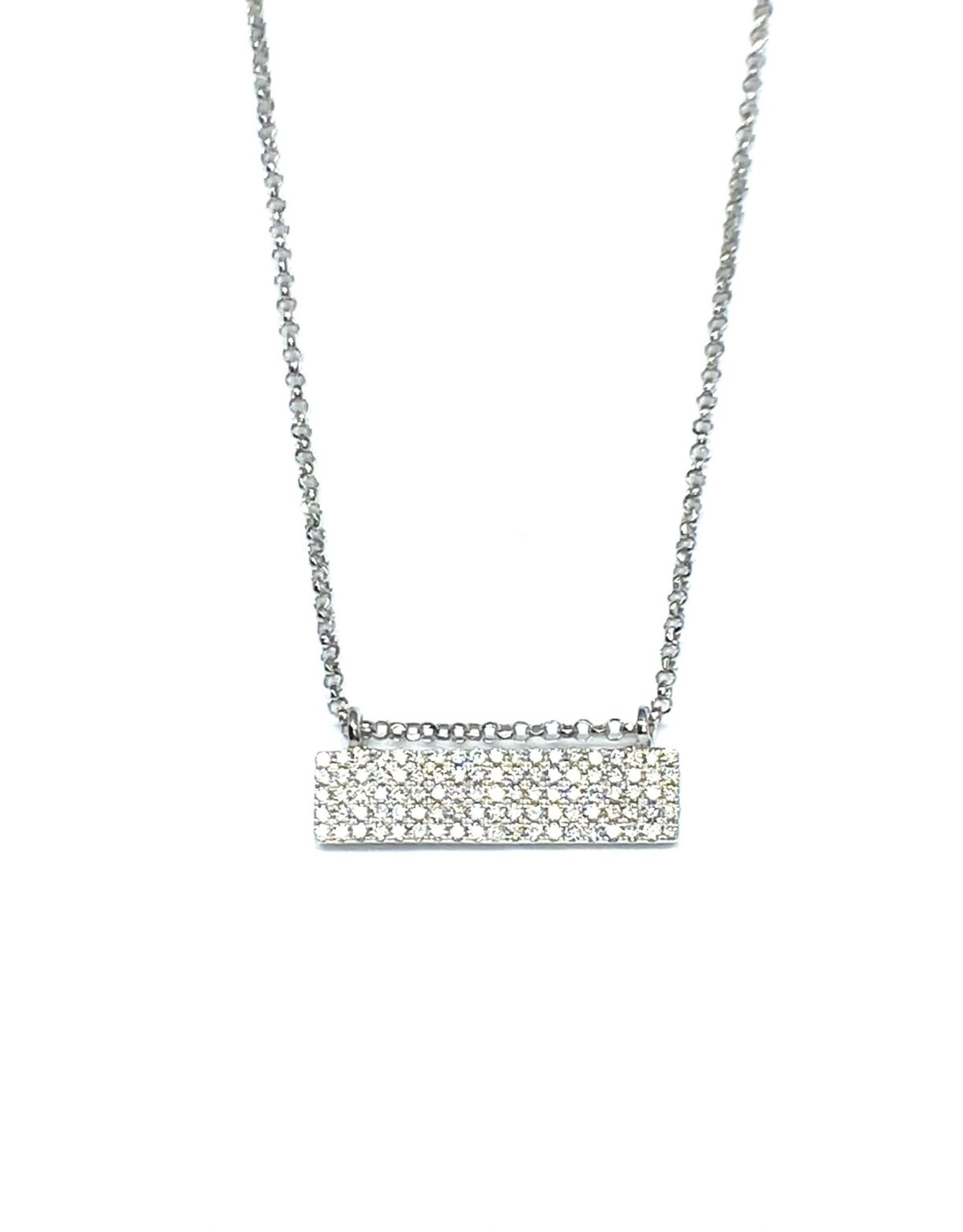 Nobles Metales White Gold Diamond Pavé Rectangle Bar Necklace