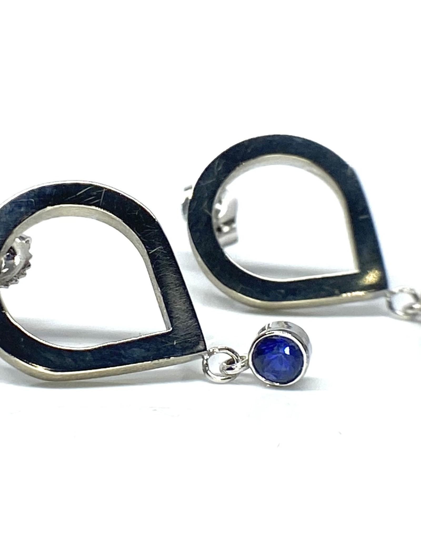 Nobles Metales 14K Inverted Teardrop Sapphire Earrings