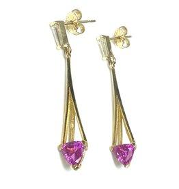 Nobles Metales 14K Chandelier Pink Sapphire Diamond Earrings