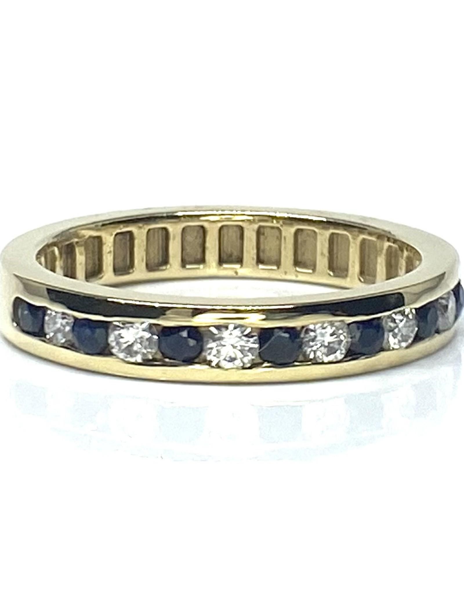 Nobles Metales 14K 7 Sapphire 6 Diamond Ring