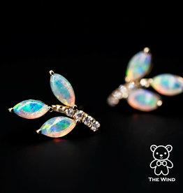 The Wind Opal 14K Olive Branch Leaf Australian Opal Diamond Stud Earrings