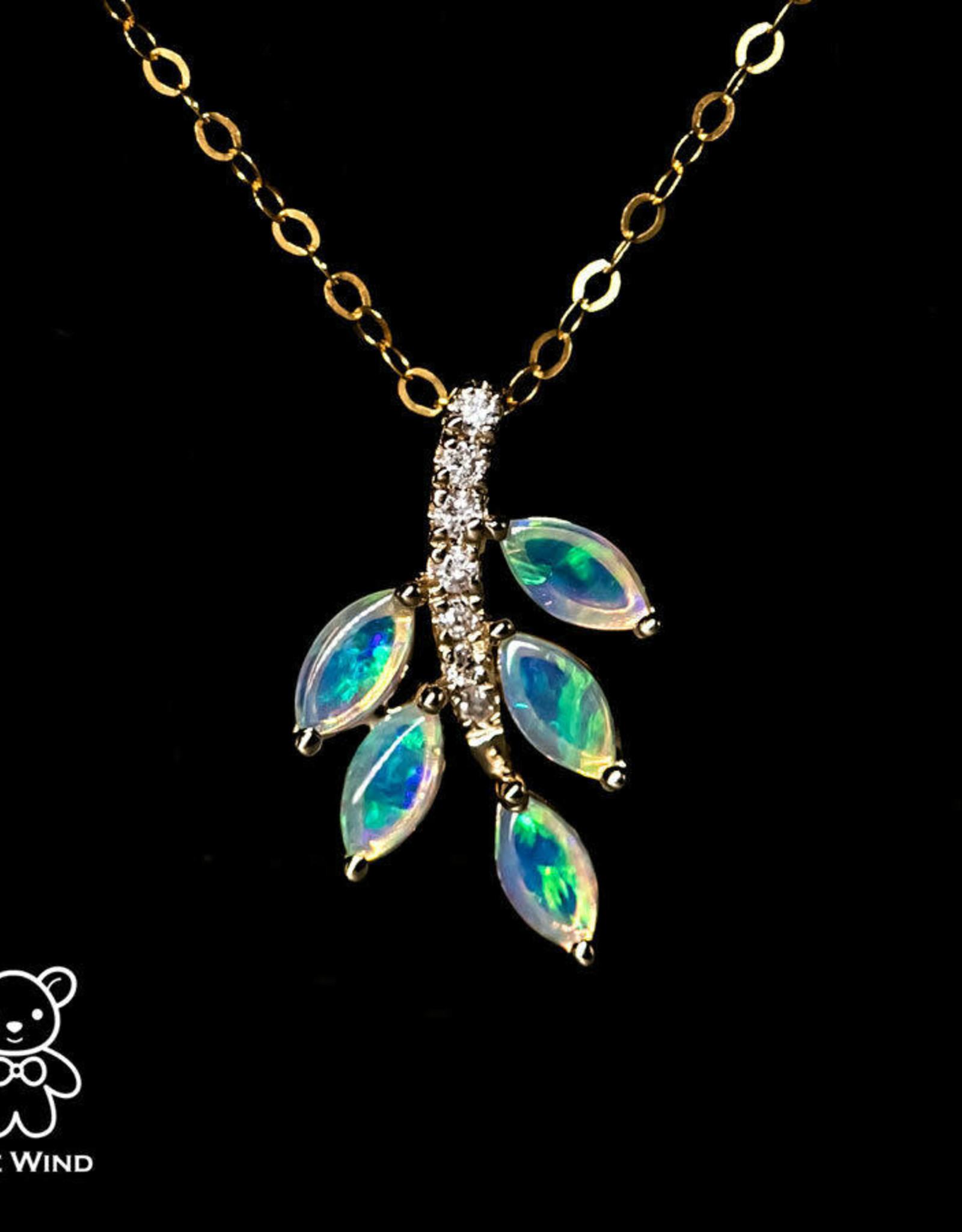 The Wind Opal Australian Leaf Opal Diamond Pendant 14K Yellow Gold