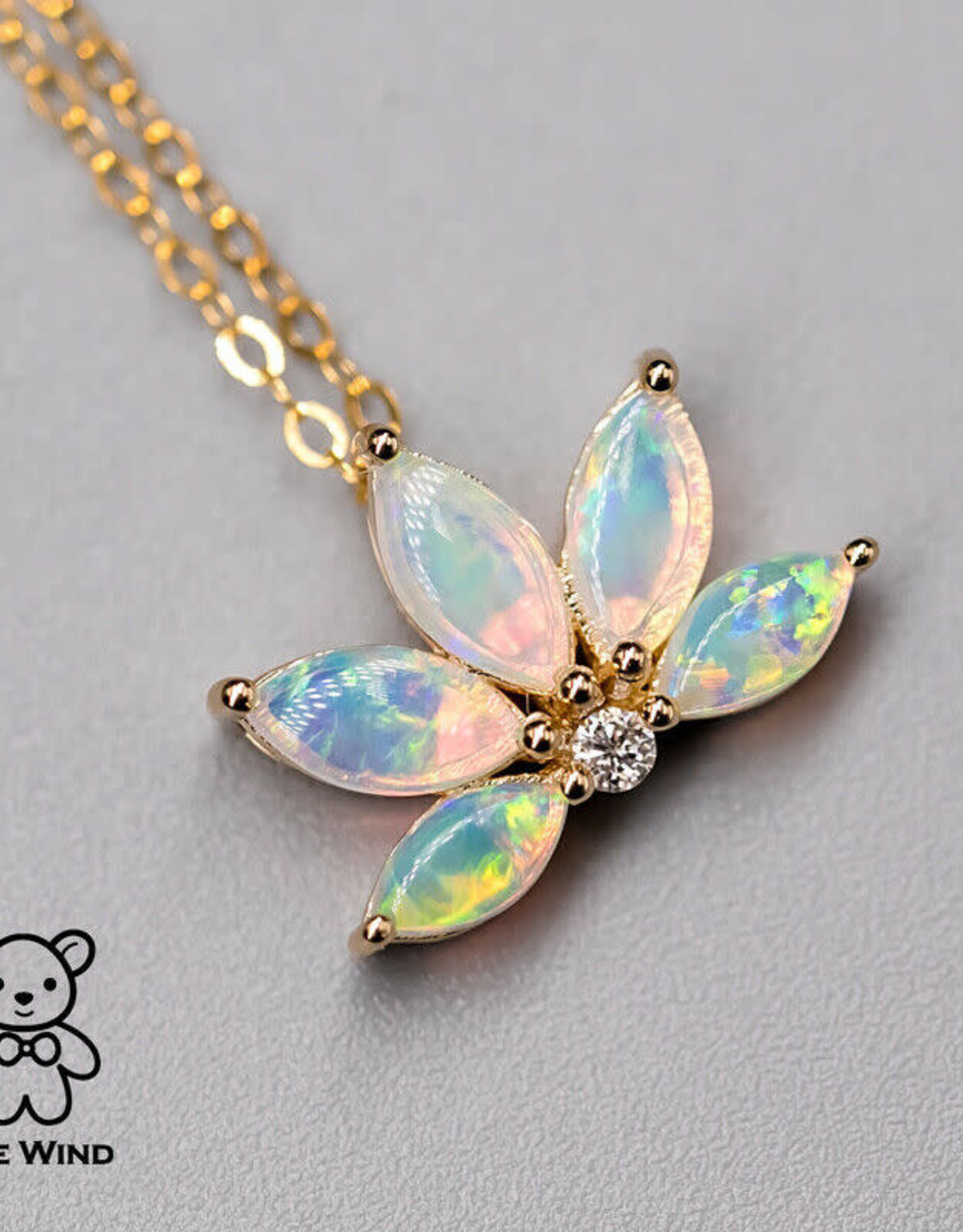 The Wind Opal Australian Lotus Opal Diamond Pendant 14K Yellow Gold