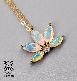 The Wind Opal Australian Lotus Opal Diamond Pendant 14K Yellow Gold