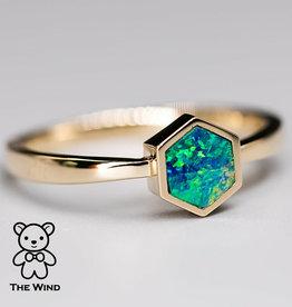 The Wind Opal 14K Hexagon Australian Doublet Opal Ring
