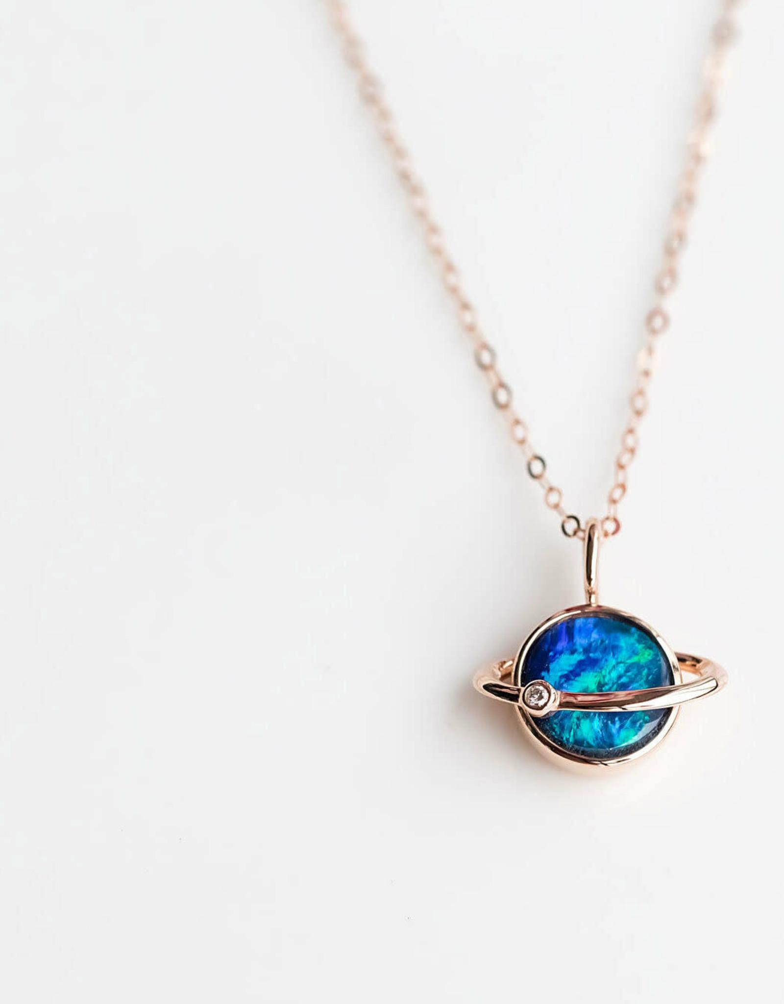 The Wind Opal 18K Rose Gold Earth Moon Doublet Opal Diamond Pendant