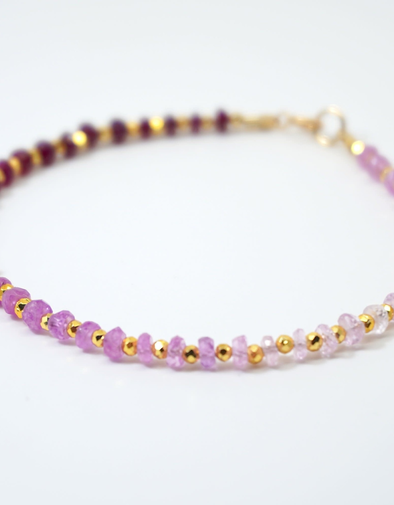 Mined and Found Kenzie One by One Ombre Ruby Bracelet-Gold Fill
