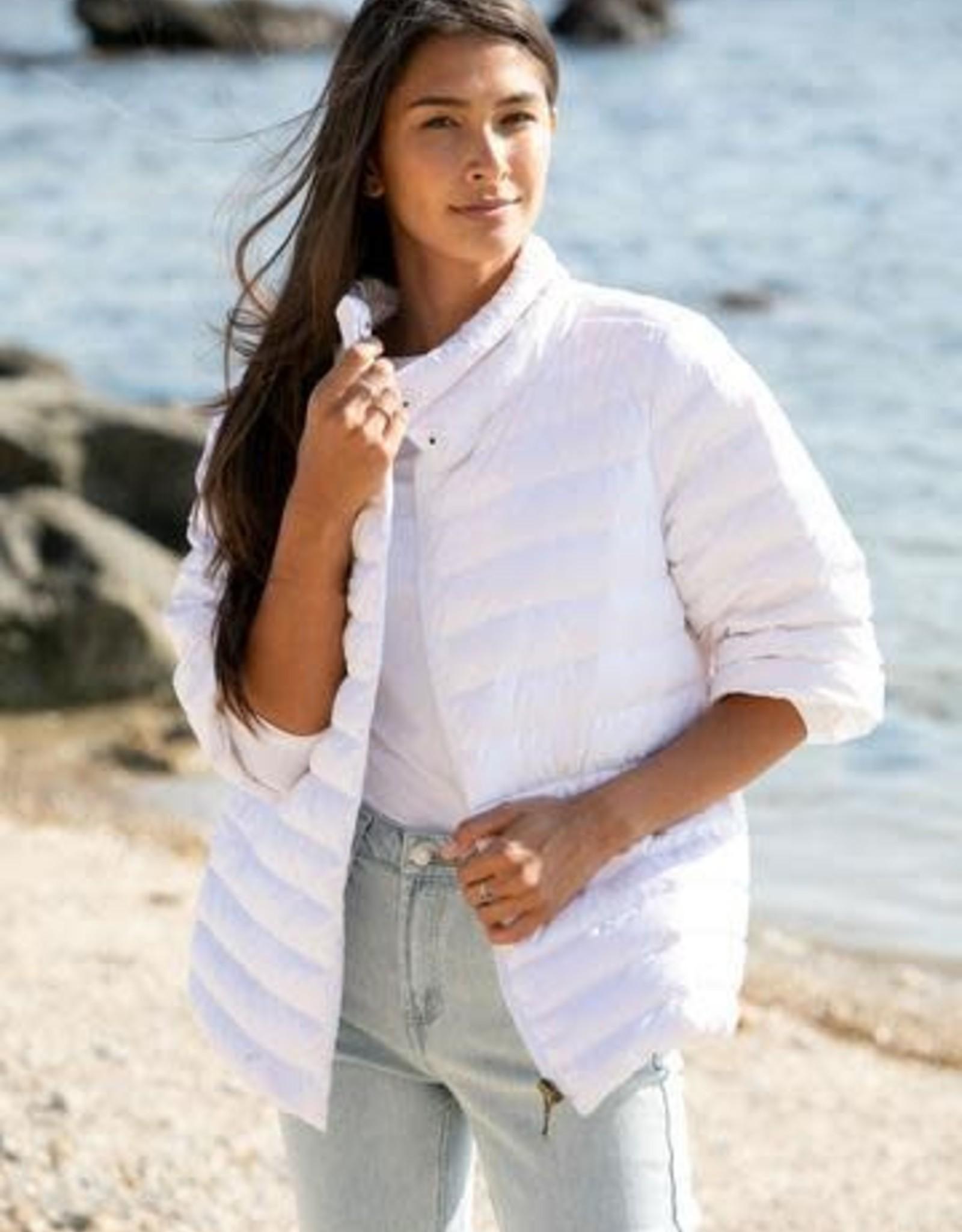 Anorak Crop Sleeve Puffer in White
