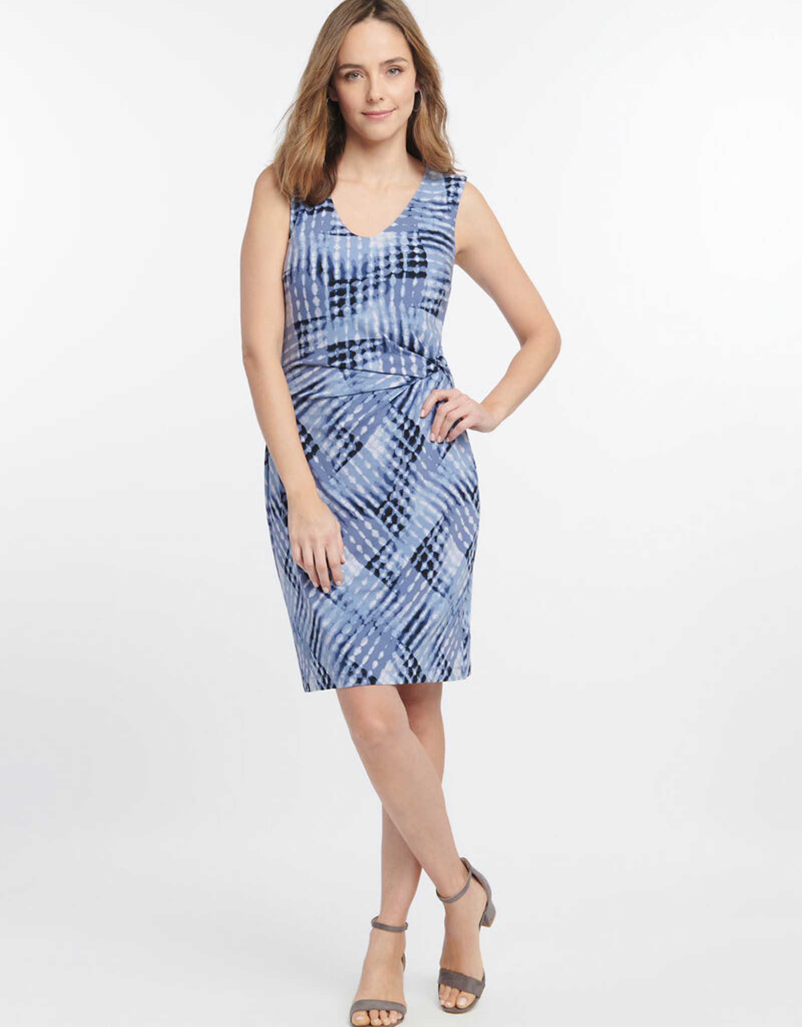 Nic+Zoe Nic+Zoe Cross Over Twist Dress in Blue Multi