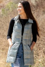 Anorak Down Filled Vest in Black & White Houndstooth