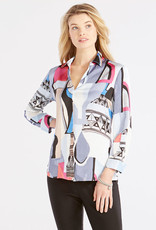 Nic+Zoe Nic+Zoe Pottery Shirt in Blue & Pink Multi
