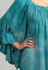 Elan Tie Dye Ruffle Sleeve Top TEAL
