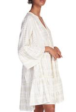 Aztec Print Dress in White & Gold