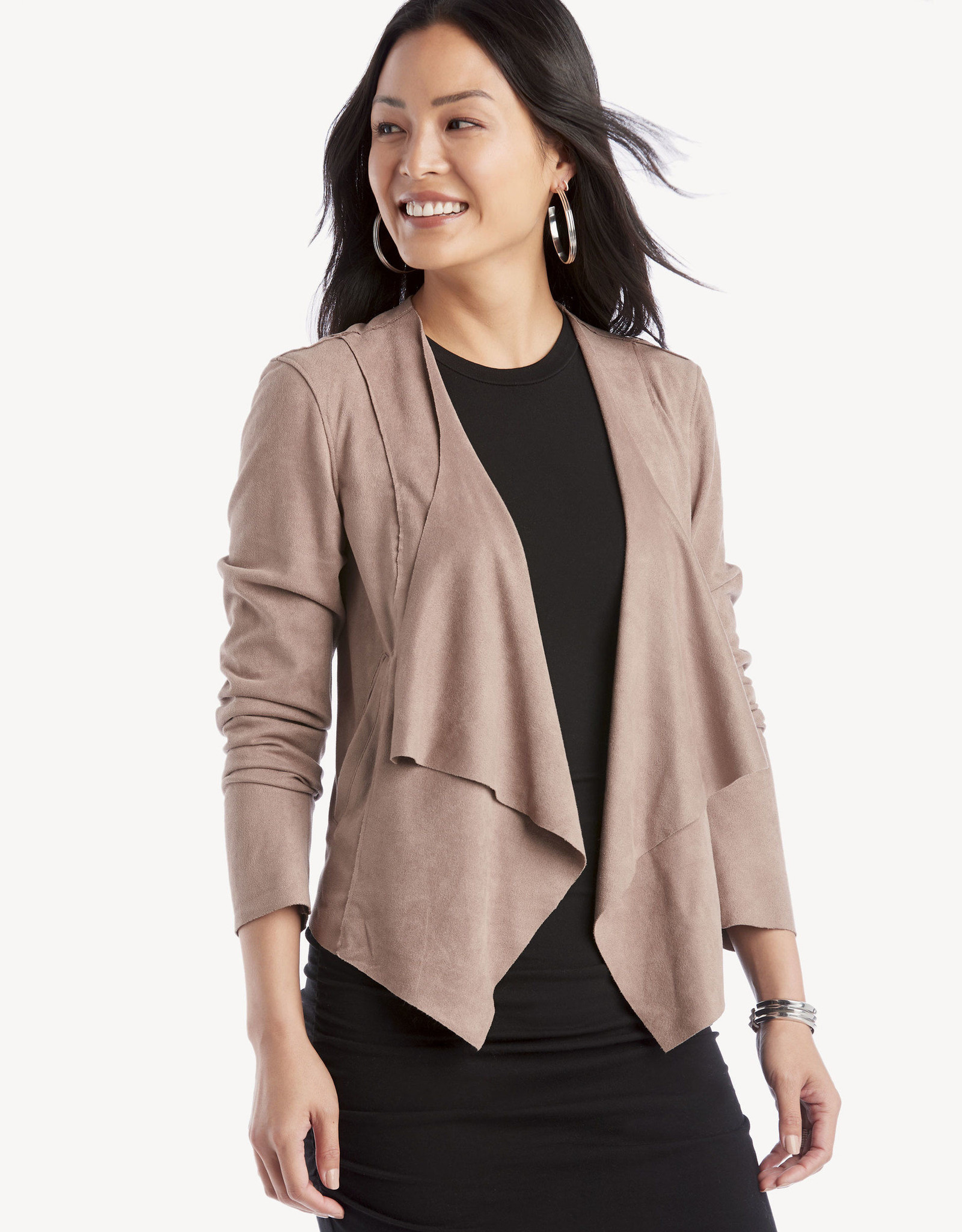 BlankNYC Blank NYC No Shame Drape Front Jacket in Taupe