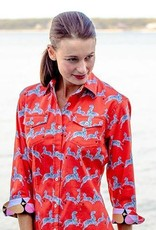 Tizzie by Dizzy Lizzie Tizzie Rome Shirt in Red Prancing Zebras by Dizzie Lizzy