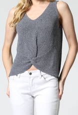 Twisted Knit Tank Top in Navy Heather