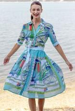 Dizzy Lizzie Dizzy Lizzie Madmen Dress in Turquoise Print