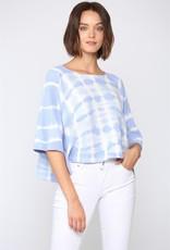 Tie Dye Knit Top Wide Short Sleeves in Light Blue