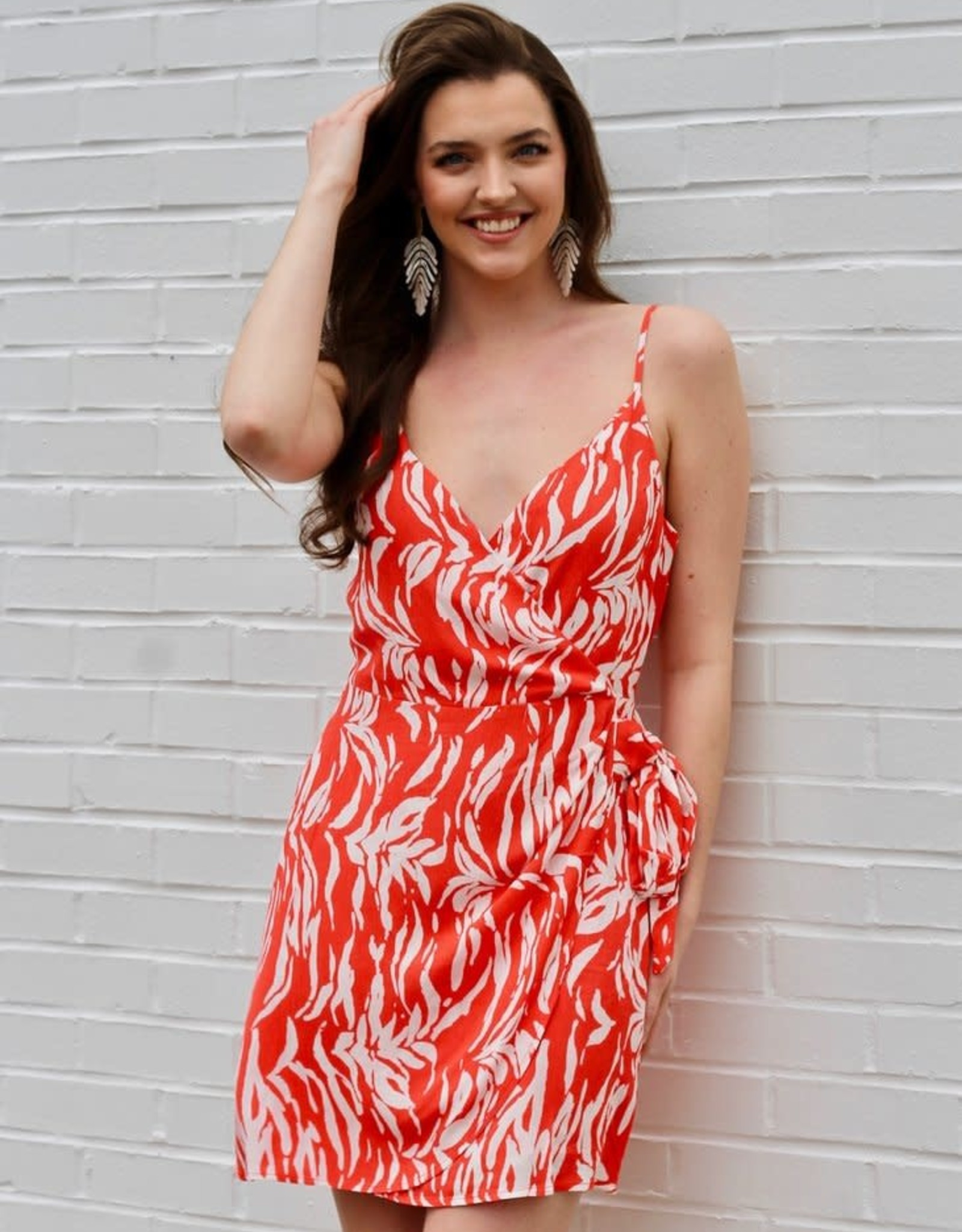 En Fuego Strappy Wrap Dress in Coral & White