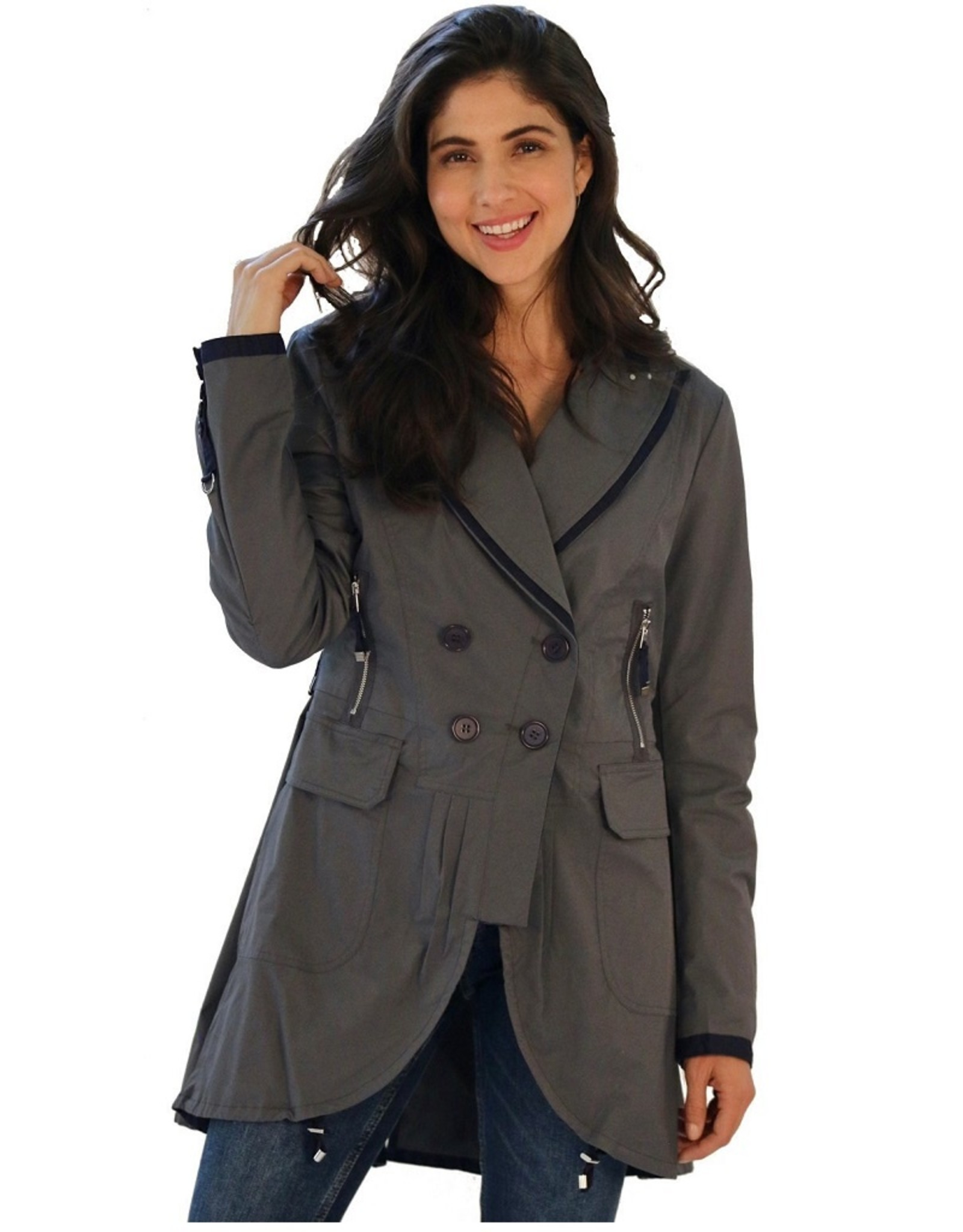 Ciao Milano Ciao Milano Amber Military Style Rain Jacket in Grey with Navy Grosgrain Trim