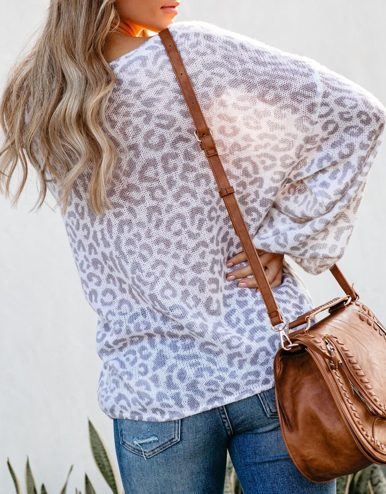 Balloon Sleeve Leopard Knit Sweater in Cream & Grey
