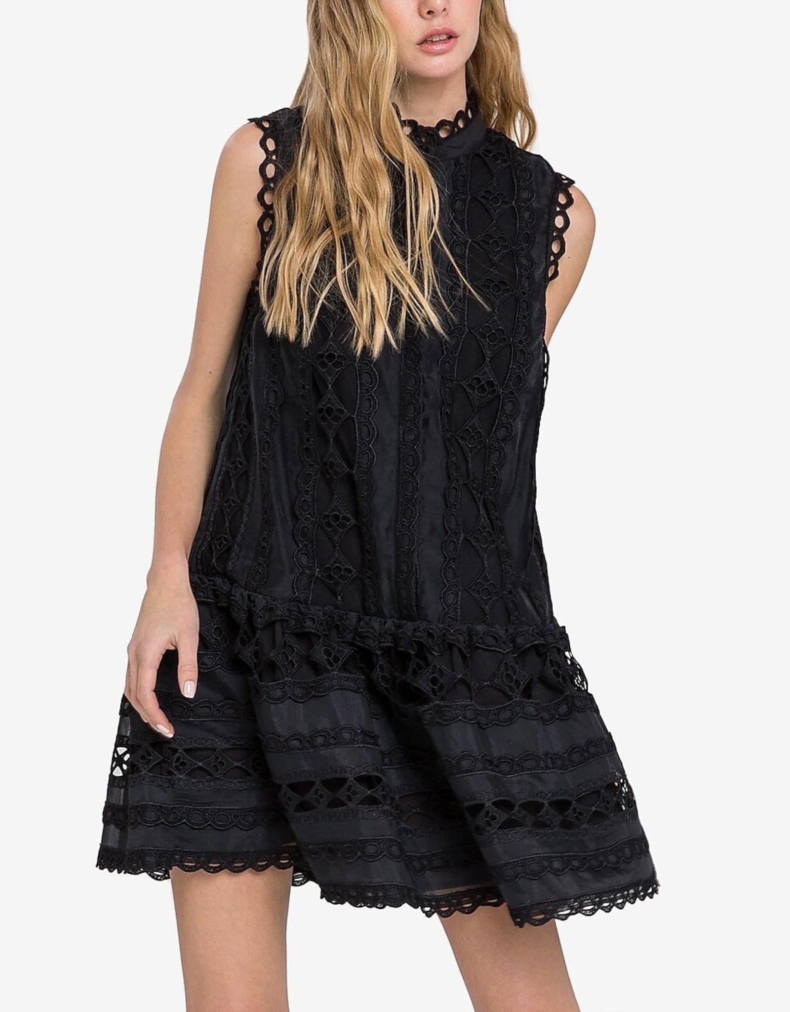 Endless Rose Drop Hem Lace Mini Dress in Black
