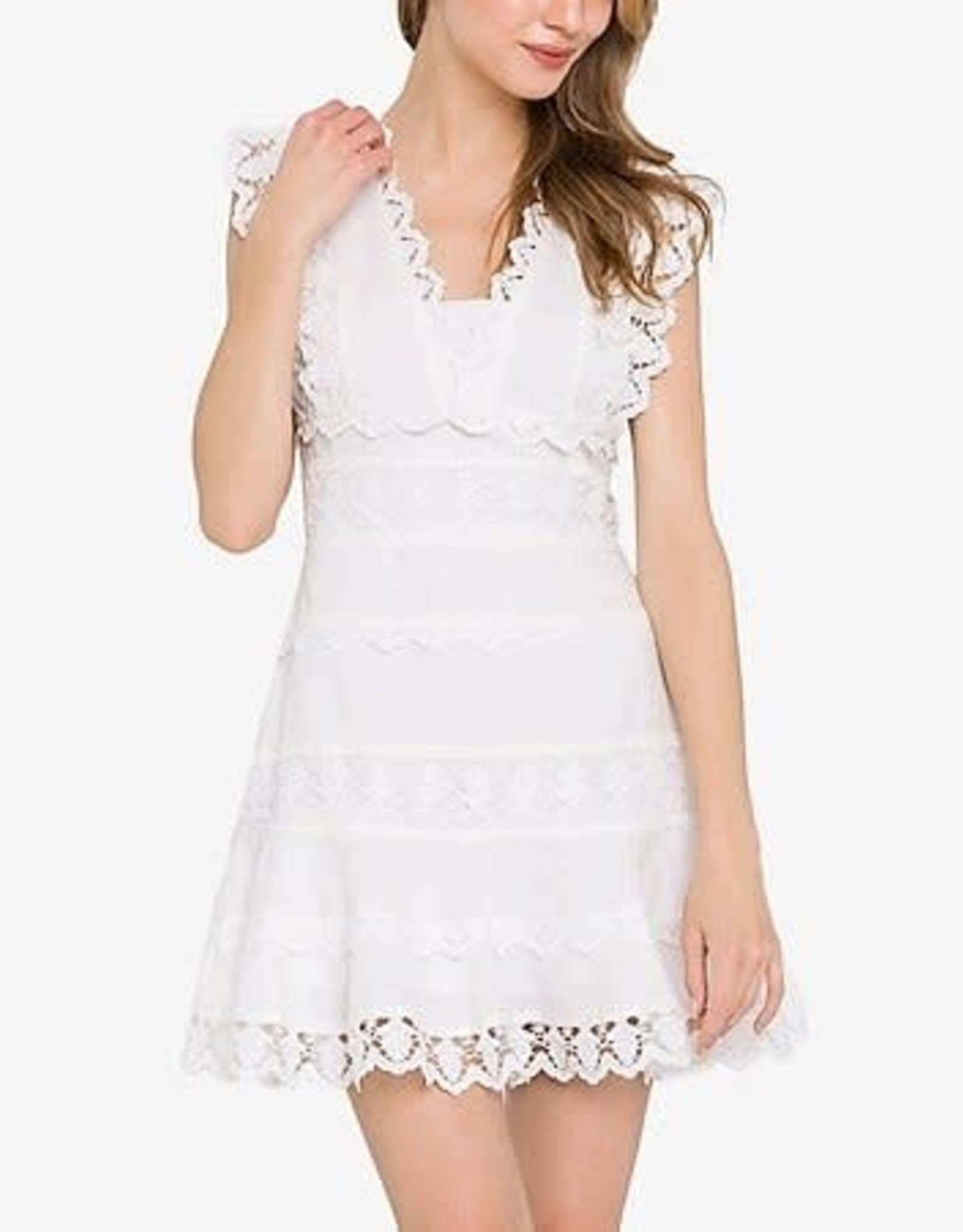 Endless Rose Plunging Neck Linen Lace Mini Dress in White
