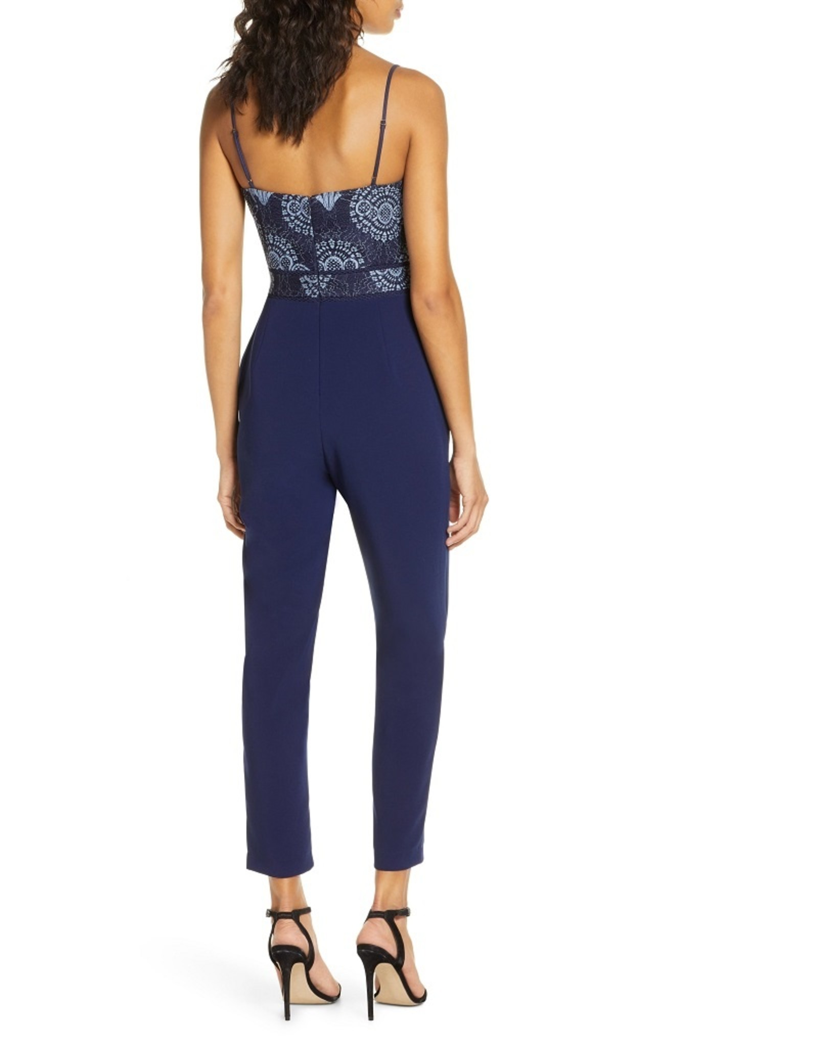 Adelyn Rae Aeris Lace Bodice Crepe Jumpsuit in Navy