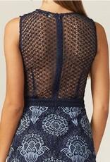 Adelyn Rae Aeris Lace & Sheer Dress in Navy