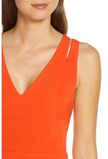 Adelyn Rae Taliya Cutout Detail Fit & Flare Dress in Tangerine