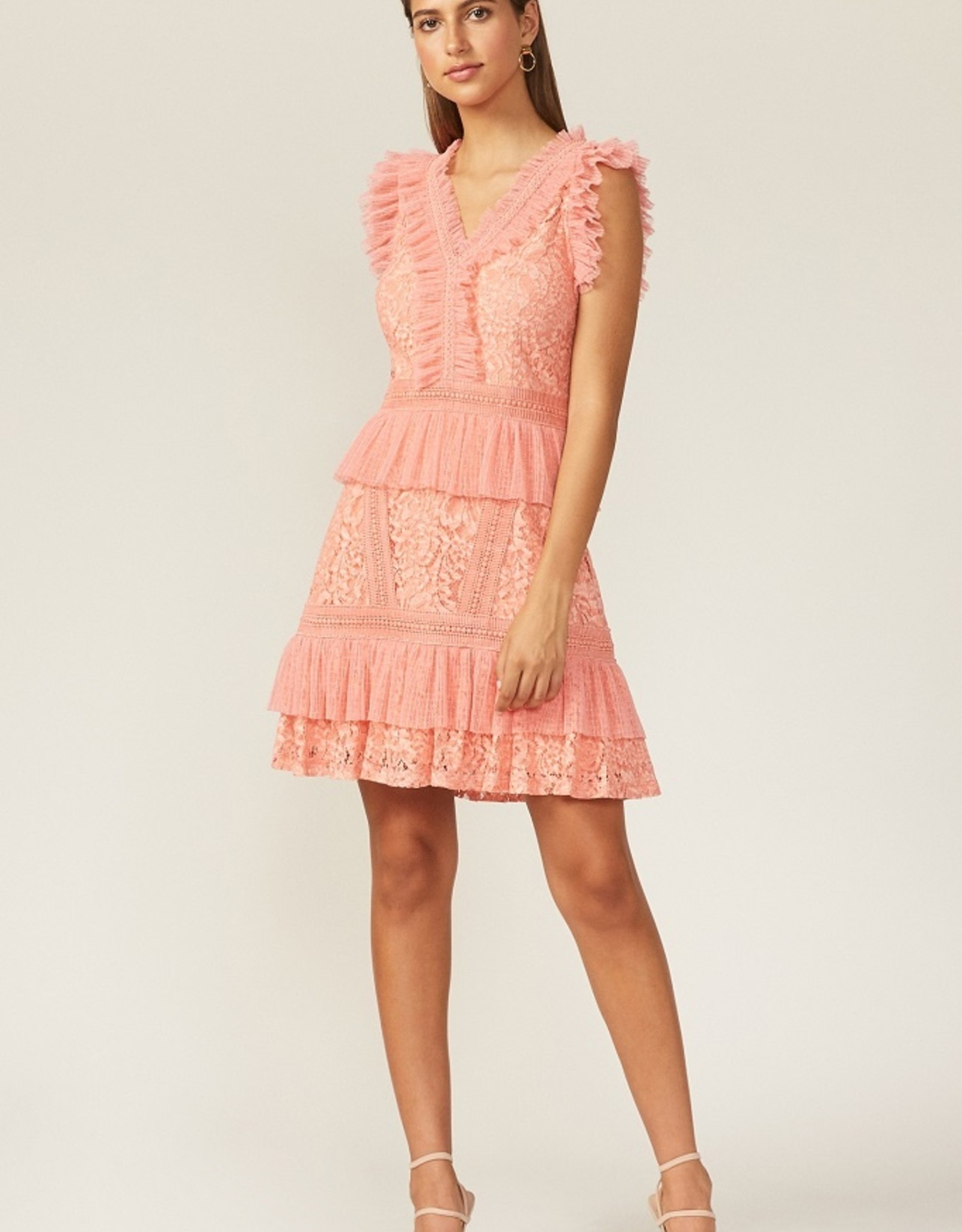 Adelyn Rae Aviana Lace Ruffle Mini Dress in Peach