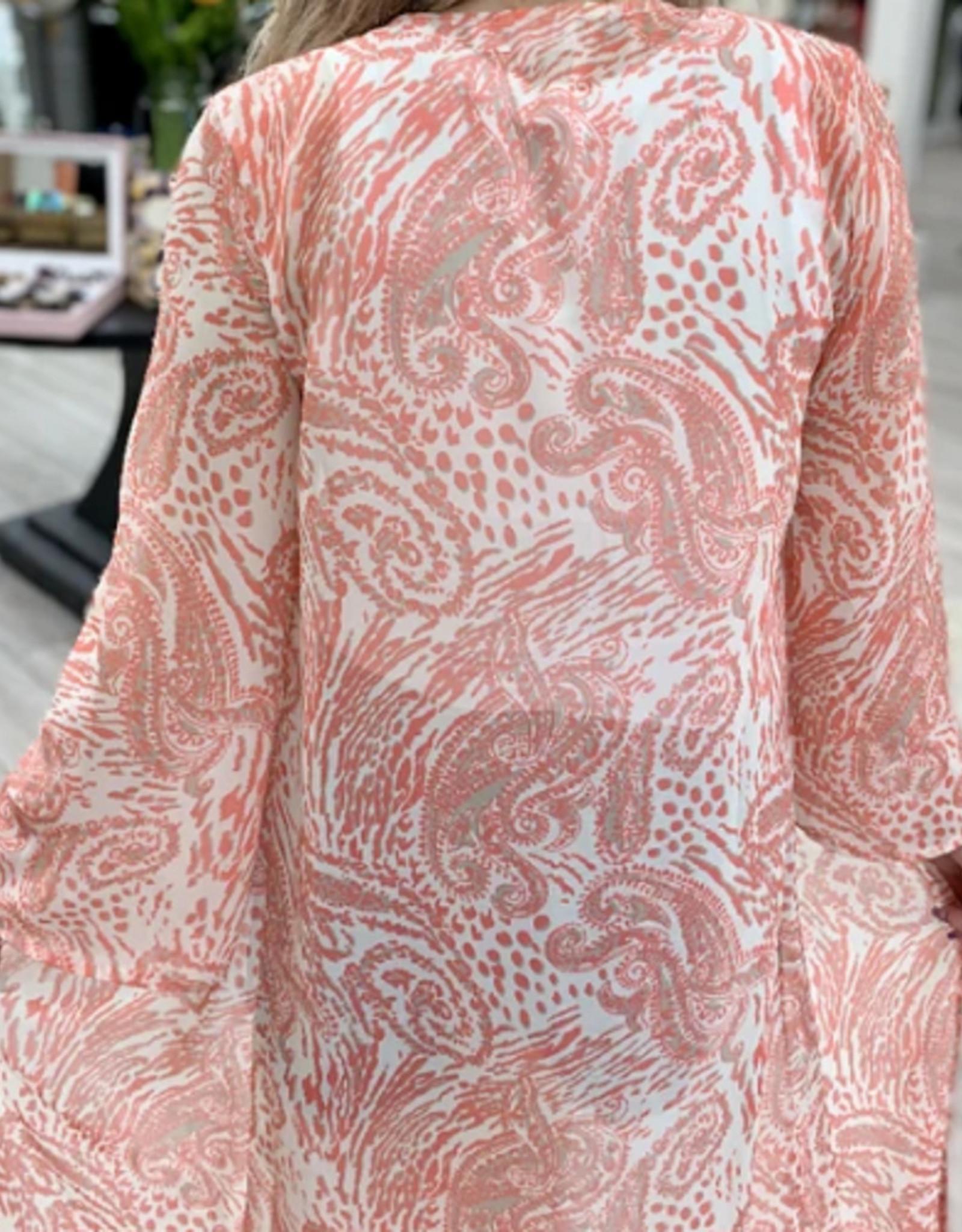 Desert House Long Kimono in Sheer White Coral Paisley