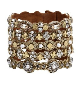 Deepa Gurnani Deepa Gurnani Cambria Crystal & Brass Statement Cuff