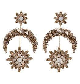 Deepa Gurnani Deepa Gurnani Cam Gold Beaded Celestial Earrings