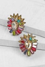 Deepa Gurnani Deepa Gurnani Aryanna Crystal & Brass Multicolored Clip-on Earrings