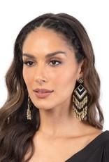 Deepa Gurnani Deepa Gurnani Franny Black & Gold Beaded Chandelier Earrings