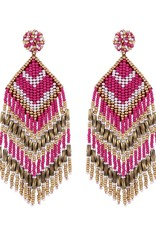 Deepa Gurnani Deepa Gurnani Franny Fuchsia & Gold Beaded Chandelier Earrings