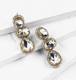 Deepa Gurnani Deepa Gurnani Hadlee Silver Crystal Drop Earrings