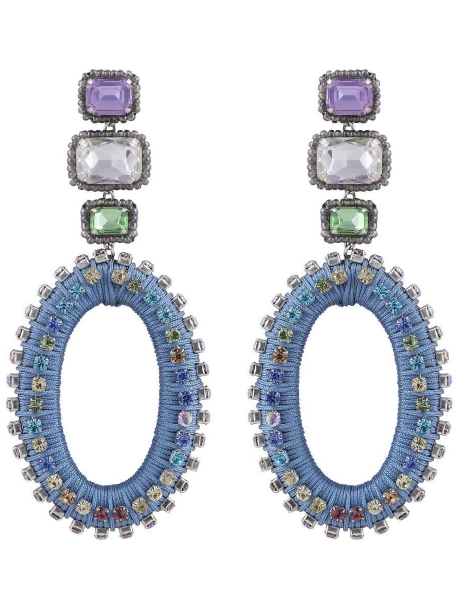 Deepa Gurnani Deepa Gurnani Haiden Blue Silk & Crystal Chandelier Earrings