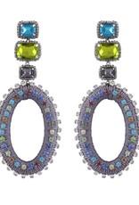Deepa Gurnani Deepa Gurnani Haiden Grey Silk & Crystal Chandelier Earrings