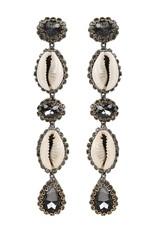 Deepa Gurnani Deepa Gurnani Kaia Cowrie Shell & Gunmetal Crystal Drop Earrings