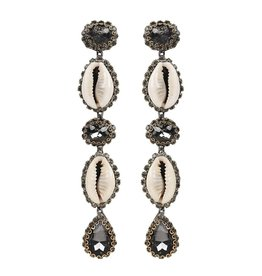 Deepa Gurnani Deepa Gurnani Kaia Cowrie Shell & Gunmetal Crystal Drop Earrings