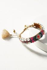 Deepa Gurnani Deepa Gurnani Indigo Fuchsia Beaded Silk Cord Pearl Bracelet