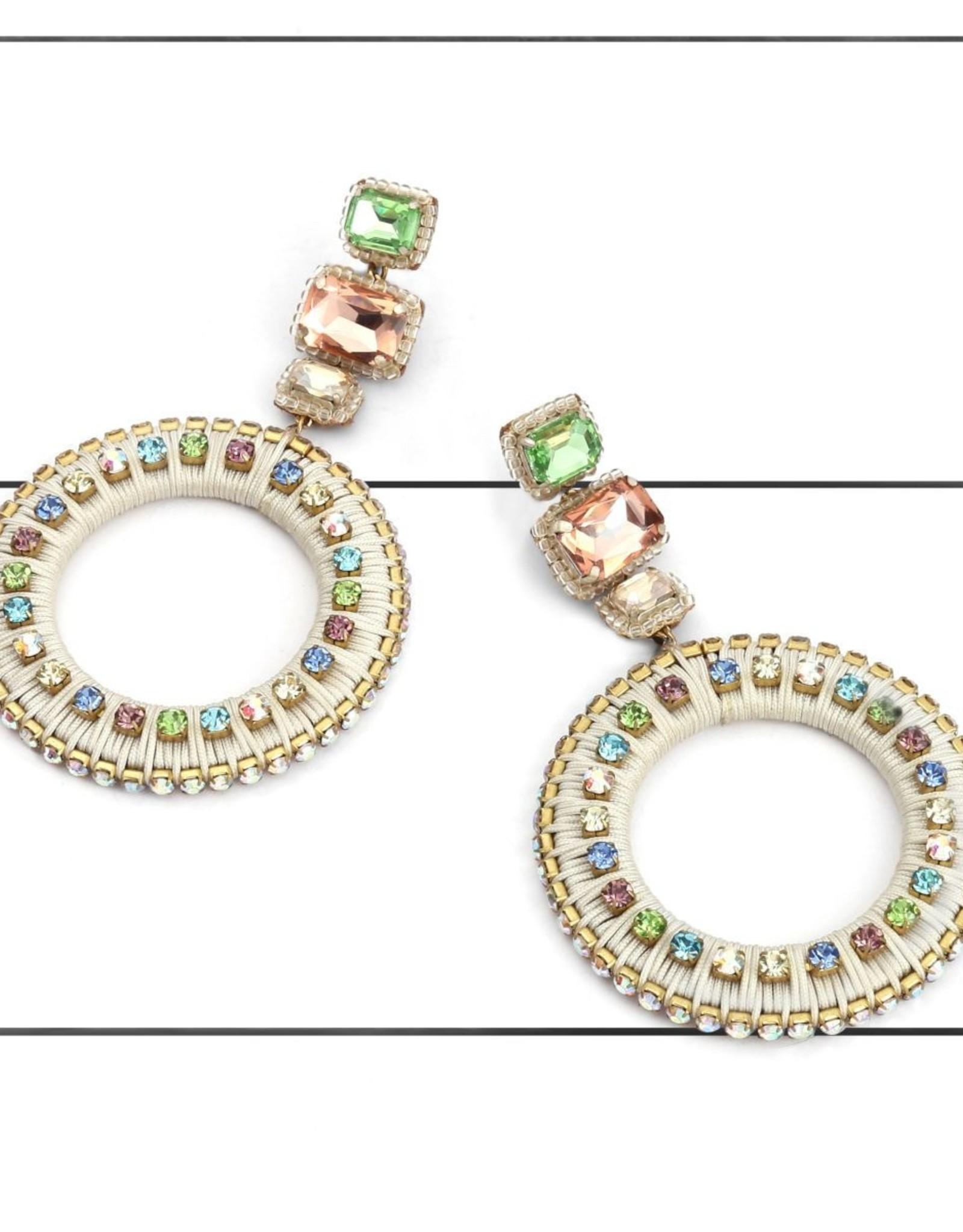 Deepa Gurnani Deepa Gurnani Luci Ivory Silk & Crystal Chandelier Earrings