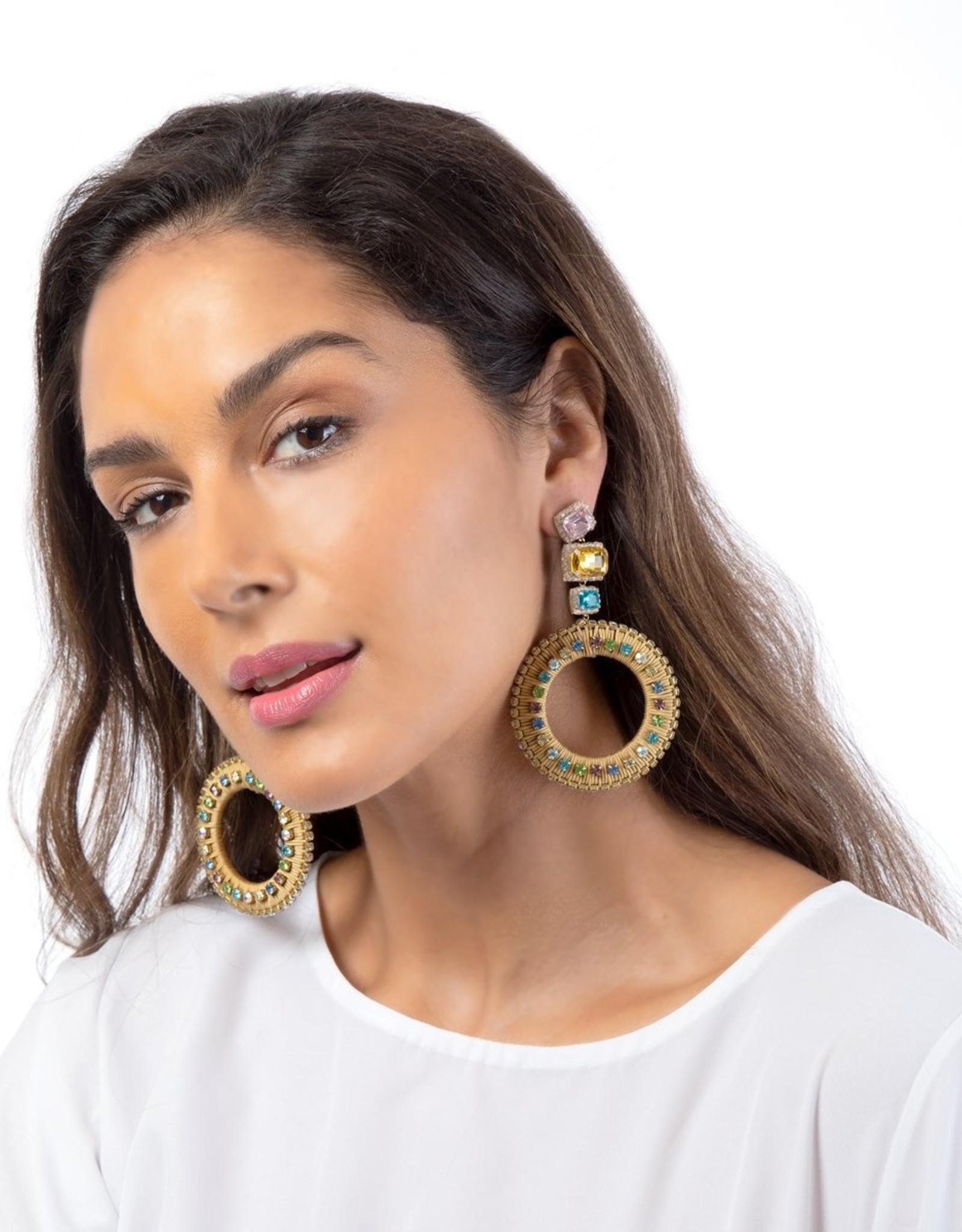 Deepa Gurnani Deepa Gurnani Luci Gold Silk & Crystal Chandelier Earrings