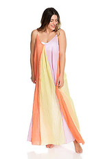 Braided Strap Maxi Dress in Lilac, Yellow & Orange