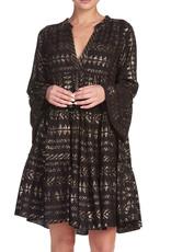Aztec Print Dress in Black & Gold