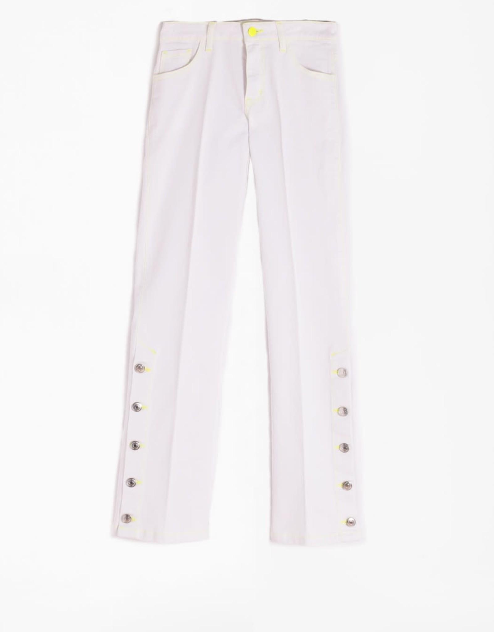Vilagallo Vilagallo Fabiola White Button Hem Jeans
