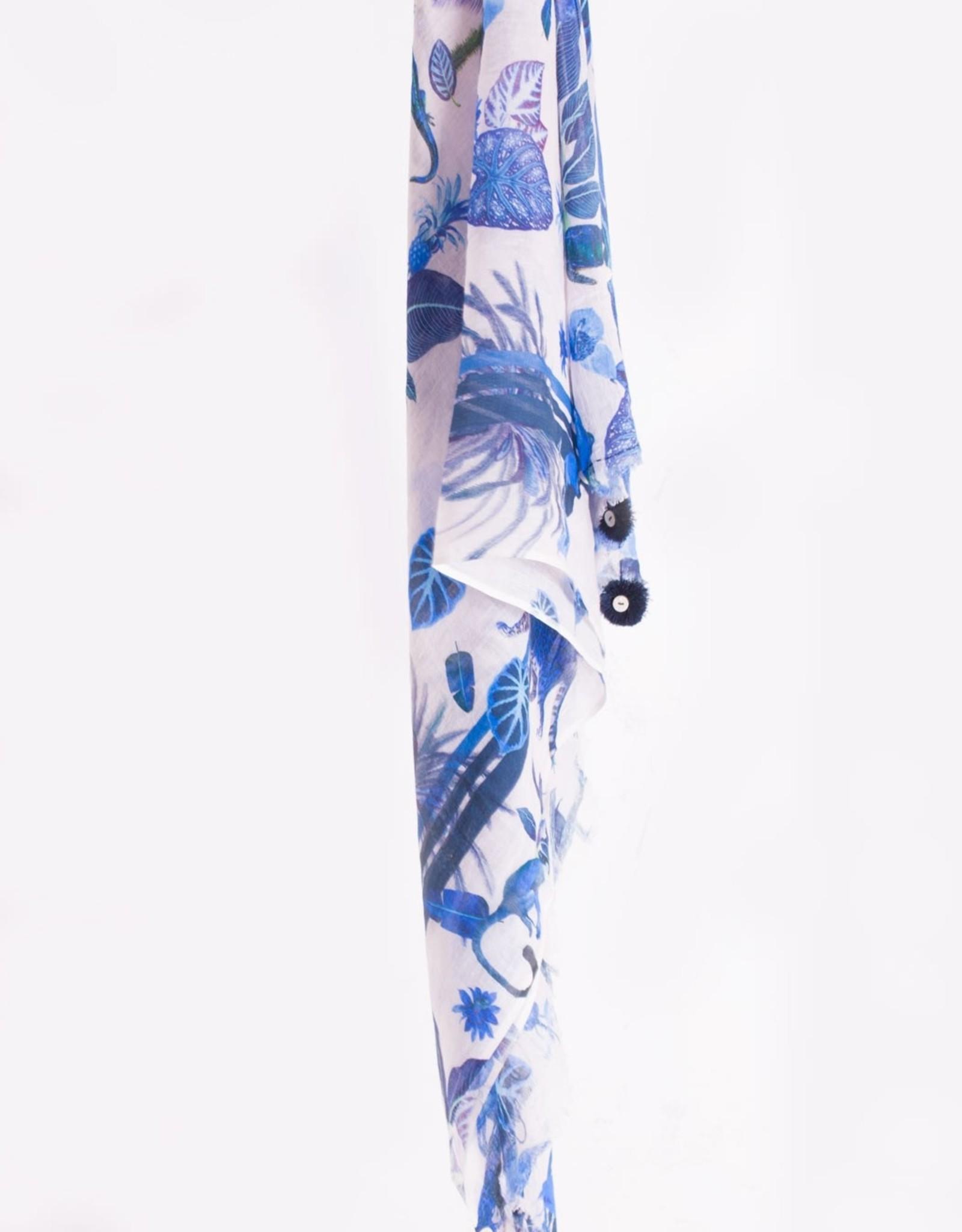 Vilagallo Vilagallo Blue Jungle Cotton Scarf
